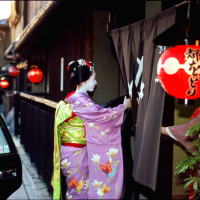 Geisha going to evening appointment in Gion Kyoto
