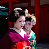 Two Maiko after performance Kyoto