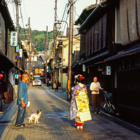 A Maiko chatting with passerby in Gion, Kyoto