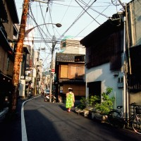 Maiko walking to next appointment in Kyoto